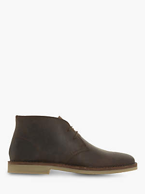 Dune Curry Leather Desert Boots, Brown