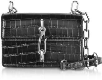 Alexander Wang Black Croco Embossed Leather Hook Small Xbody Bag