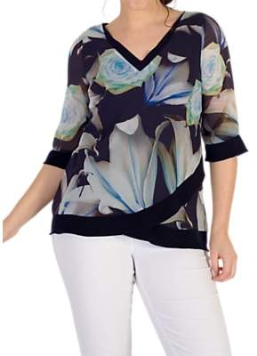 eefdfd1804 chesca Chesca Rose And Lily Print Chiffon Top, Multi
