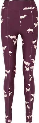 The Upside Printed Stretch Leggings - Burgundy