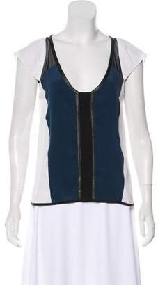 Milly Silk Colorblock Top