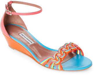 Tabitha Simmons Lotti Multicolor Leather Wedge Sandals