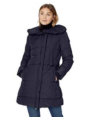 Lark & Ro Amazon Brand Women's Long Shawl Pillow Collar Puffer Jacket