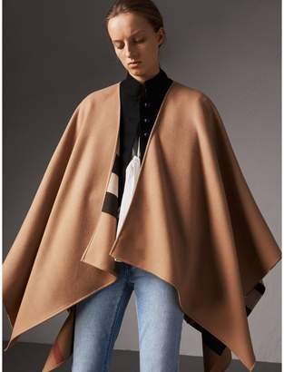 Burberry Reversible Check Merino Wool Poncho, Brown