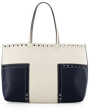 Tory Burch Tory Burch Block-T Brogue Leather Tote Bag