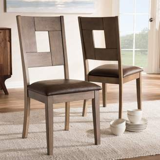 Baxton Studio Set of 2 Gillian Shabby Chic Country Cottage Weathered Grey Finishing Wood and Distressed Dark Brown Faux Leather Upholstered Dining Side Chair