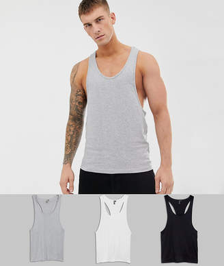 Asos DESIGN tank with extreme racer back 3 pack SAVE