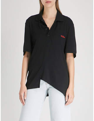 WE11 DONE Asymmetric-hem cotton polo shirt
