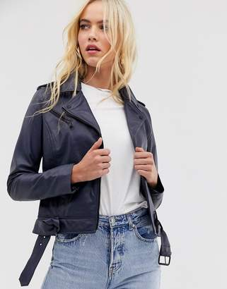 Barneys New York Barneys Originals coloured leather biker jacket in navy