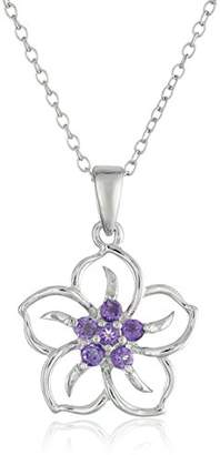 Sterling Silver Created Blue Sapphire Flower Pendant Necklace