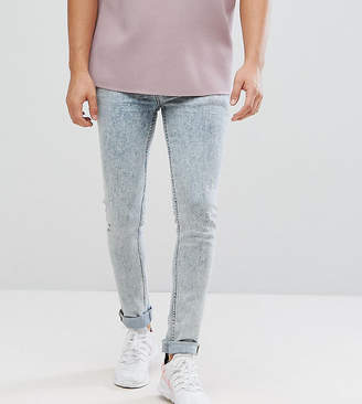 Asos DESIGN TALL Super Skinny Jeans In Vintage Bleach Wash Blue