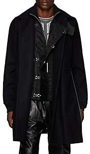 Sacai Men's Wool Melton & Tech-Satin Triple-Closure Topcoat - Navy