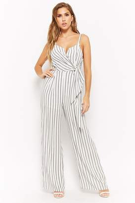 Forever 21 Striped Surplice Jumpsuit
