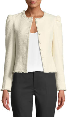 Club Monaco Milah Textured Puff-Shoulder Cropped Jacket
