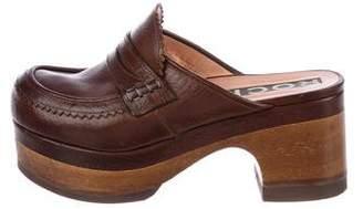 Rochas Leather Platform Mules