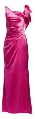 Talbot Runhof Shiny Matte Crepe Satin Gown