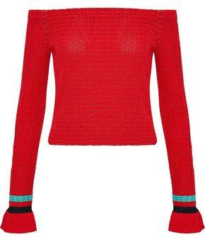 3.1 Phillip Lim Off-The-Shoulder Knitted Cotton-Blend Sweater
