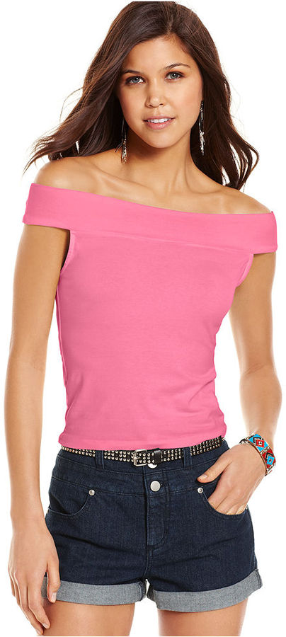 Planet Gold Juniors Top, Sleeveless Off-The-Shoulder