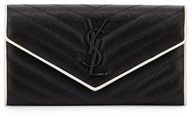 Saint Laurent Monogram Leather Large Flap Continental Wallet $775 thestylecure.com