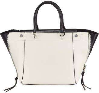 Iconic American Designer Saffiano Leather Zip-Detail Satchel Bag