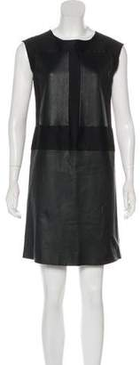 Agnona Leather-Accented Wool Dress
