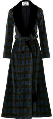 Evi Grintela - Yves Velvet-trimmed Cotton-corduroy Coat - Green