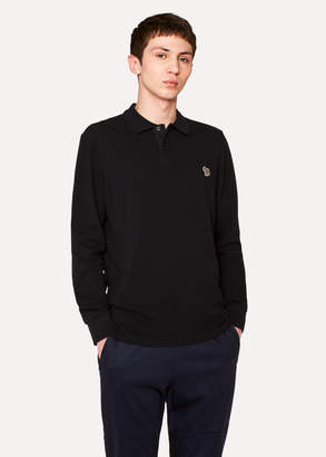 Paul Smith Men's Black Organic-Cotton Zebra Logo Long-Sleeve Polo Shirt