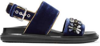 Marni Leather-trimmed Embellished Velvet Slingback Sandals - Navy