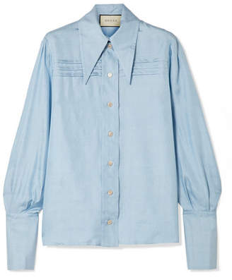 Gucci Pintucked Silk-georgette Shirt - Blue