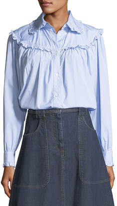 ALEXACHUNG Alexa Chung Frill-Trim Button-Front Oversized Denim Shirt