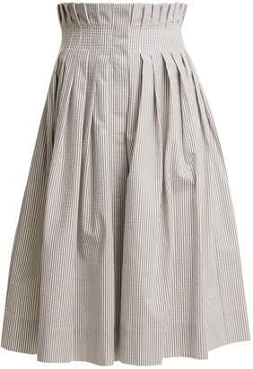 Thom Browne Striped cotton-seersucker pleated skirt