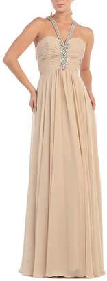 Asstd National Brand Beaded Halter Bridesmaids Gown