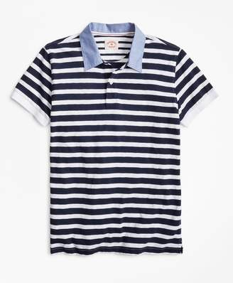 Brooks Brothers Striped Slub Cotton Jersey Polo Shirt