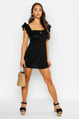 boohoo Ruffle Off The Shoulder A-Line Dress