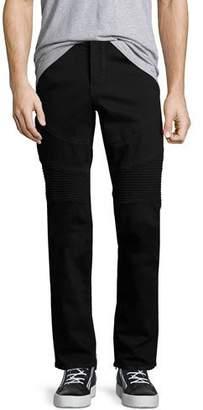 True Religion Rocco Skinny Stretch-Denim Moto Jeans, Black