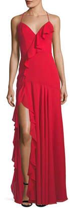 Fame & Partners Callais Asymmetric Ruffle Wrap Slip Gown
