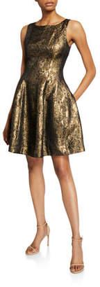 Halston Metallic Jacquard Fit-&-Flare Dress