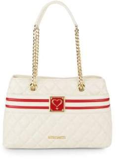 Love Moschino Quilted Faux Leather Stripe Bag