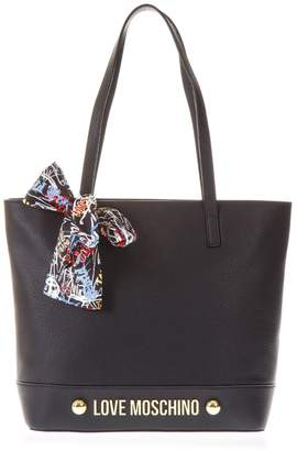 Love Moschino Black Handbag With Scarf Detail