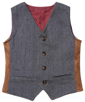 Fore Herringbone & Pin-Dot Reversible Vest, Size 2-8