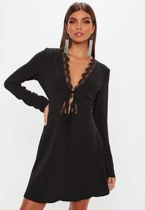 Missguided Black Lace Trim Skater Dress