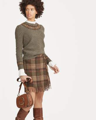 Ralph Lauren Fringe-Trim Plaid Wool Skirt