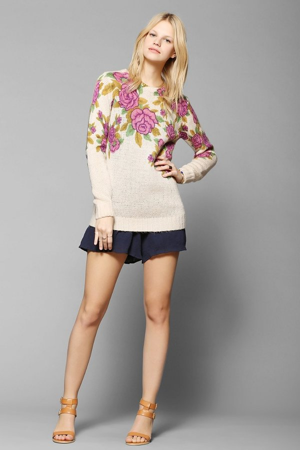 Urban Outfitters Pins And Needles Roses Sweater