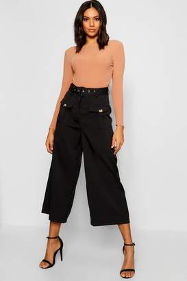 boohoo Belted Utility Pocket Button Culottes