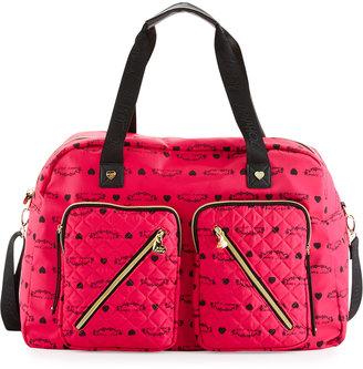 Betsey Johnson Cargo Floral Nylon Weekender Bag, Fuchsia $115 thestylecure.com