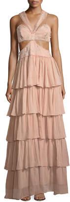 Cinq à Sept Leda Sleeveless Cutout-Waist Tiered Silk Evening Gown