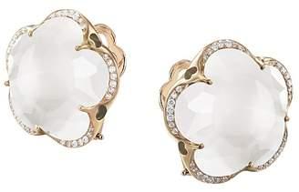 Pasquale Bruni 18K Rose Gold Bon Ton Milky Quartz & Diamond Floral Earrings