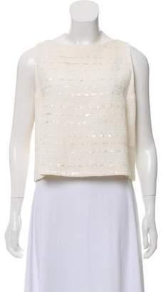 93a66b2ec51d76 Chanel Embellished Tweed Top