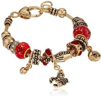 Scorpio Zodiac Sign Gold Tone Charm Bracelet