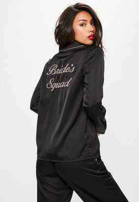 Missguided Black Bride Squad Satin Pajama Set